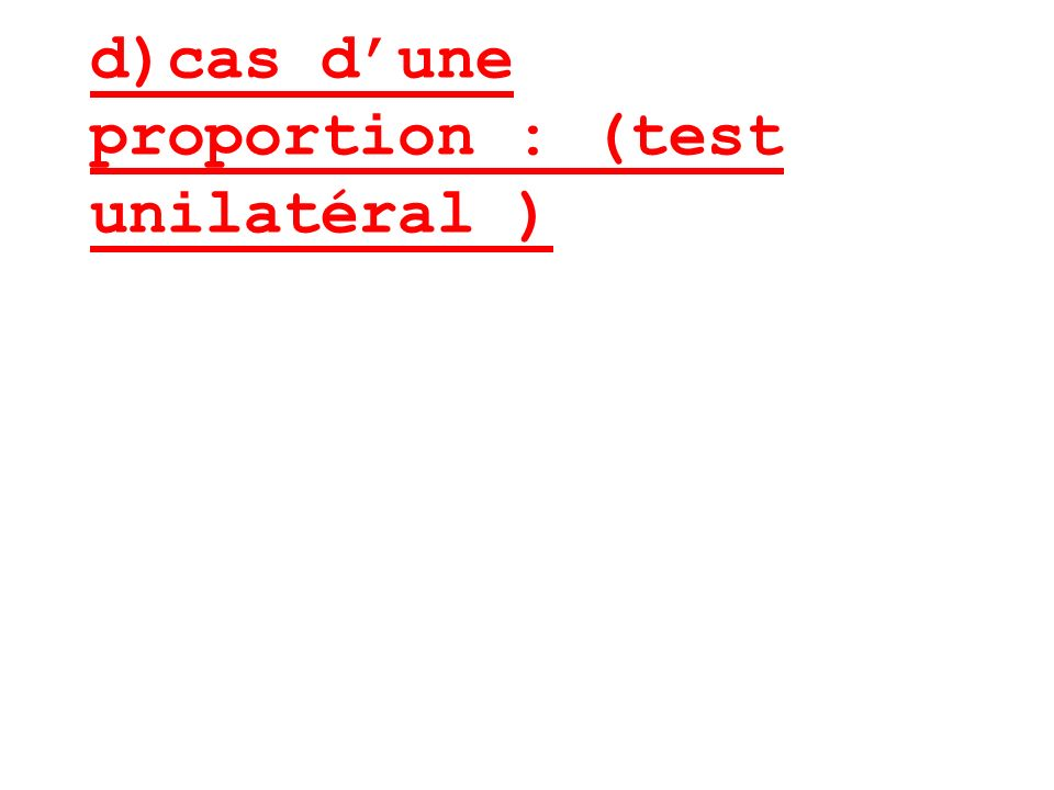 d)cas dune proportion : (test unilatéral )