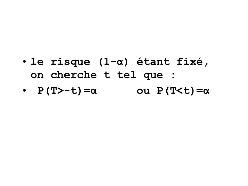 le risque (1-α) étant fixé, on cherche t tel que : P(T>-t)=α ou P(T<t)=α