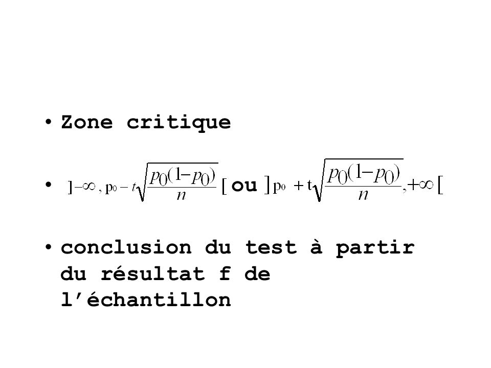 Zone critique ou conclusion du test à partir du résultat f de léchantillon