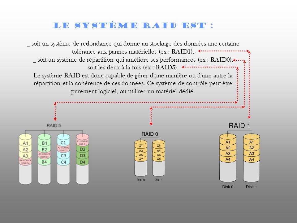 Le système RAID est : _ soit un système de redondance qui donne au stockage des données une certaine tolérance aux pannes matérielles (ex : RAID1), _