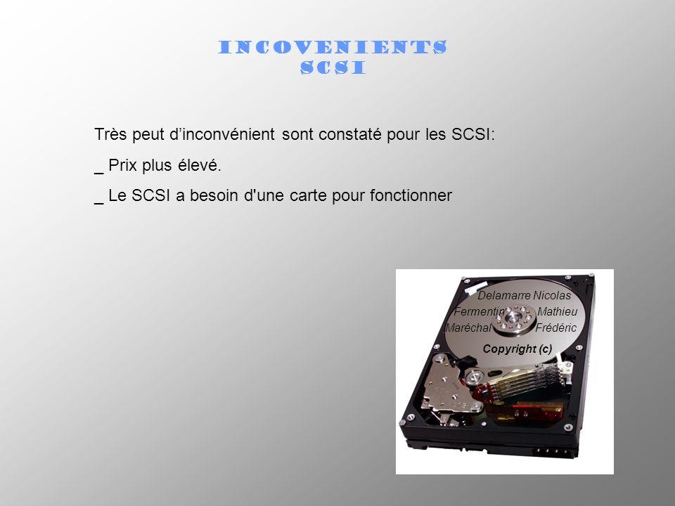 INCOVENIENTS SCSI Très peut dinconvénient sont constaté pour les SCSI: _ Prix plus élevé. _ Le SCSI a besoin d'une carte pour fonctionner Delamarre Ni