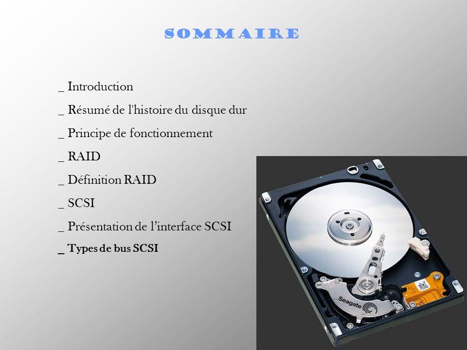 SOMMAIRE _ Introduction _ Résumé de l'histoire du disque dur _ Principe de fonctionnement _ RAID _ Définition RAID _ SCSI _ Présentation de linterface
