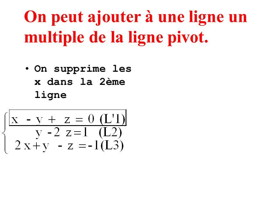 On peut ajouter à une ligne un multiple de la ligne pivot. On supprime les x dans la 2ème ligne
