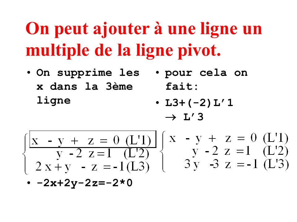On peut ajouter à une ligne un multiple de la ligne pivot. On supprime les x dans la 3ème ligne -2x+2y-2z=-2*0 pour cela on fait: L3+(-2)L1 L3