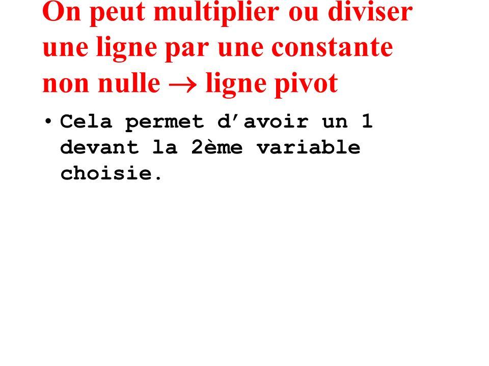 On peut multiplier ou diviser une ligne par une constante non nulle ligne pivot Cela permet davoir un 1 devant la 2ème variable choisie.