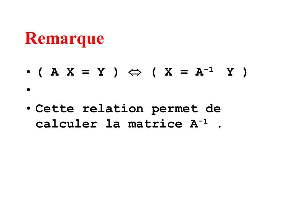 Remarque ( A X = Y ) ( X = A -1 Y ) Cette relation permet de calculer la matrice A -1.