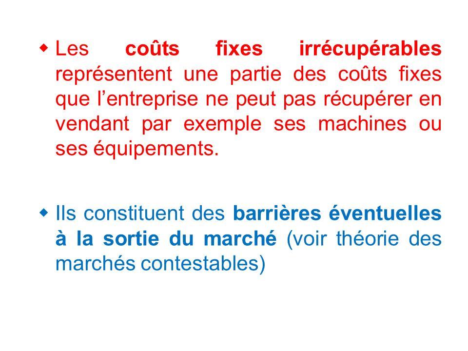Les coûts fixes irrécupérables représentent une partie des coûts fixes que lentreprise ne peut pas récupérer en vendant par exemple ses machines ou ses équipements.