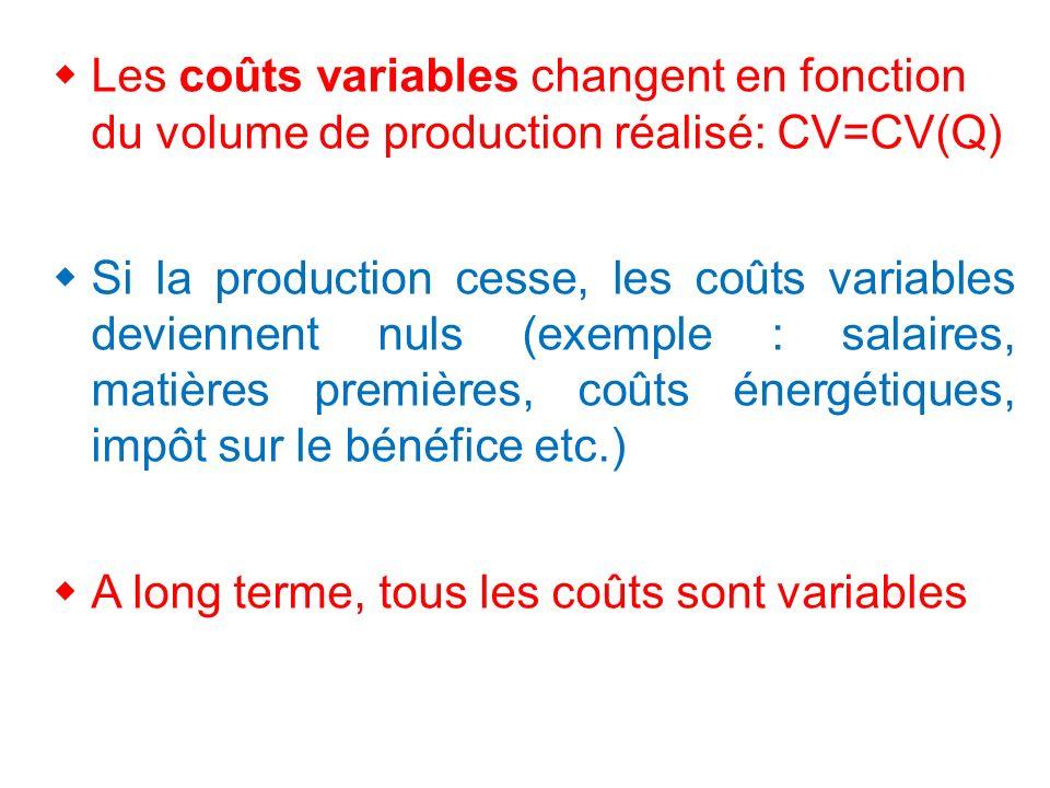 Les coûts variables changent en fonction du volume de production réalisé: CV=CV(Q) Si la production cesse, les coûts variables deviennent nuls (exemple : salaires, matières premières, coûts énergétiques, impôt sur le bénéfice etc.) A long terme, tous les coûts sont variables