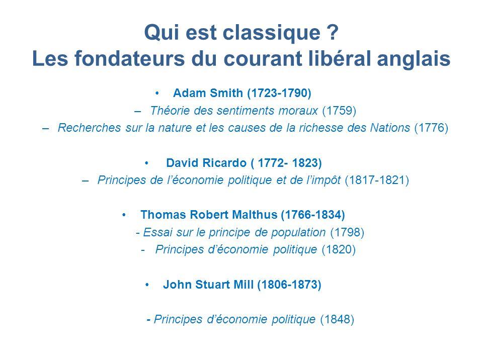 Qui est classique ? Les fondateurs du courant libéral anglais Adam Smith (1723-1790) –Théorie des sentiments moraux (1759) –Recherches sur la nature e