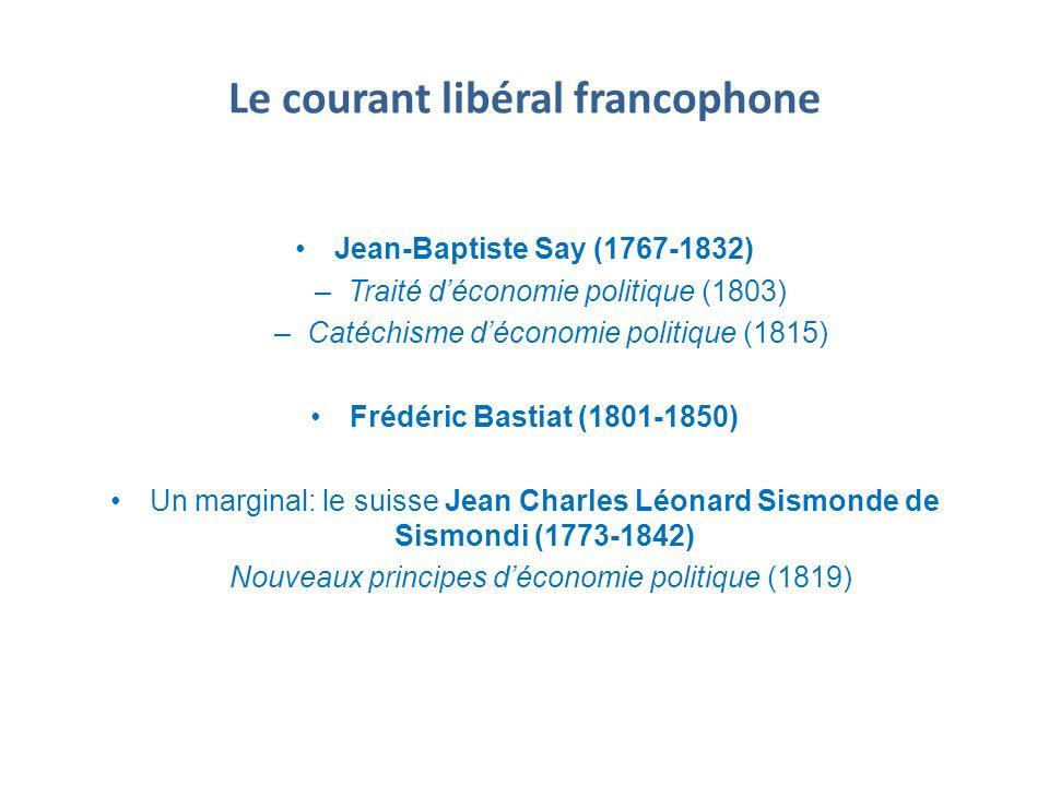Le courant libéral francophone Jean-Baptiste Say (1767-1832) –Traité déconomie politique (1803) –Catéchisme déconomie politique (1815) Frédéric Bastia