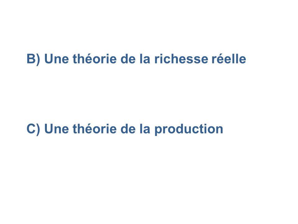 B) Une théorie de la richesse réelle C) Une théorie de la production