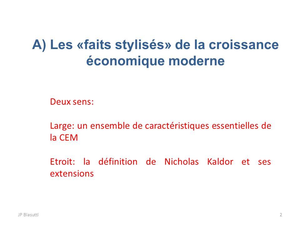 A) Les «faits stylisés» de la croissance économique moderne 2JP Biasutti Deux sens: Large: un ensemble de caractéristiques essentielles de la CEM Etro