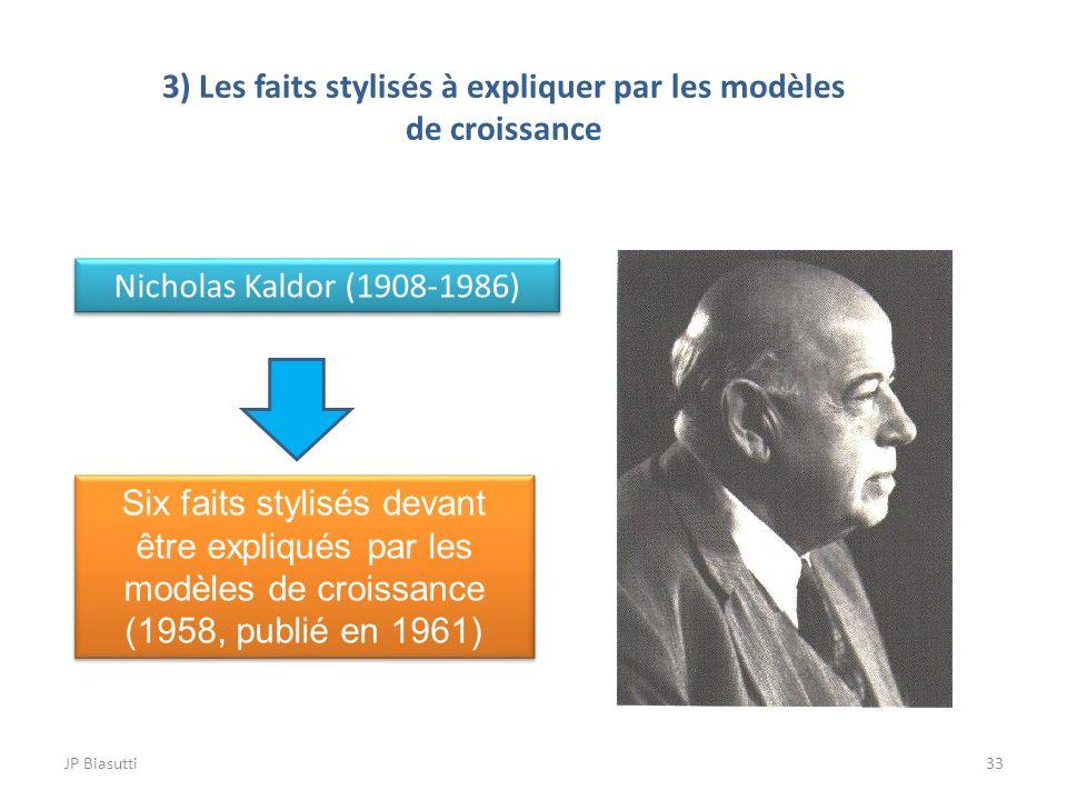 JP Biasutti33 3) Les faits stylisés à expliquer par les modèles de croissance Nicholas Kaldor (1908-1986) Six faits stylisés devant être expliqués par