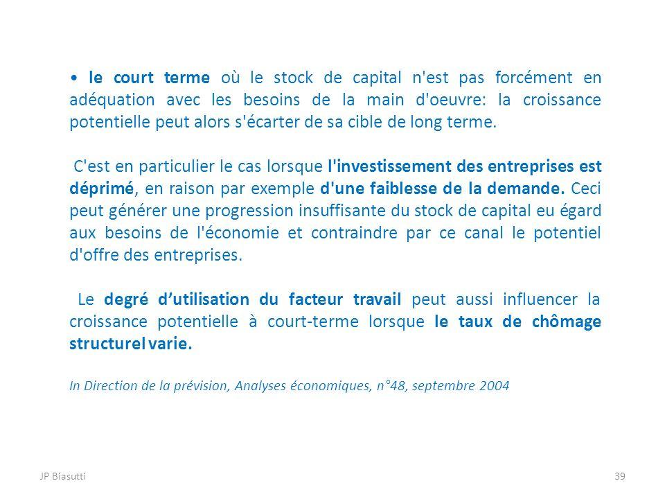 JP Biasutti39 le court terme où le stock de capital n'est pas forcément en adéquation avec les besoins de la main d'oeuvre: la croissance potentielle