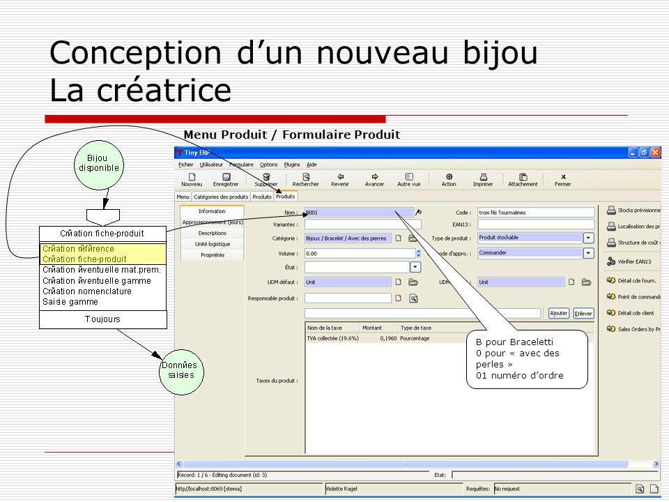 Conception dun nouveau bijou La créatrice B pour Braceletti 0 pour « avec des perles » 01 numéro dordre Menu Produit / Formulaire Produit