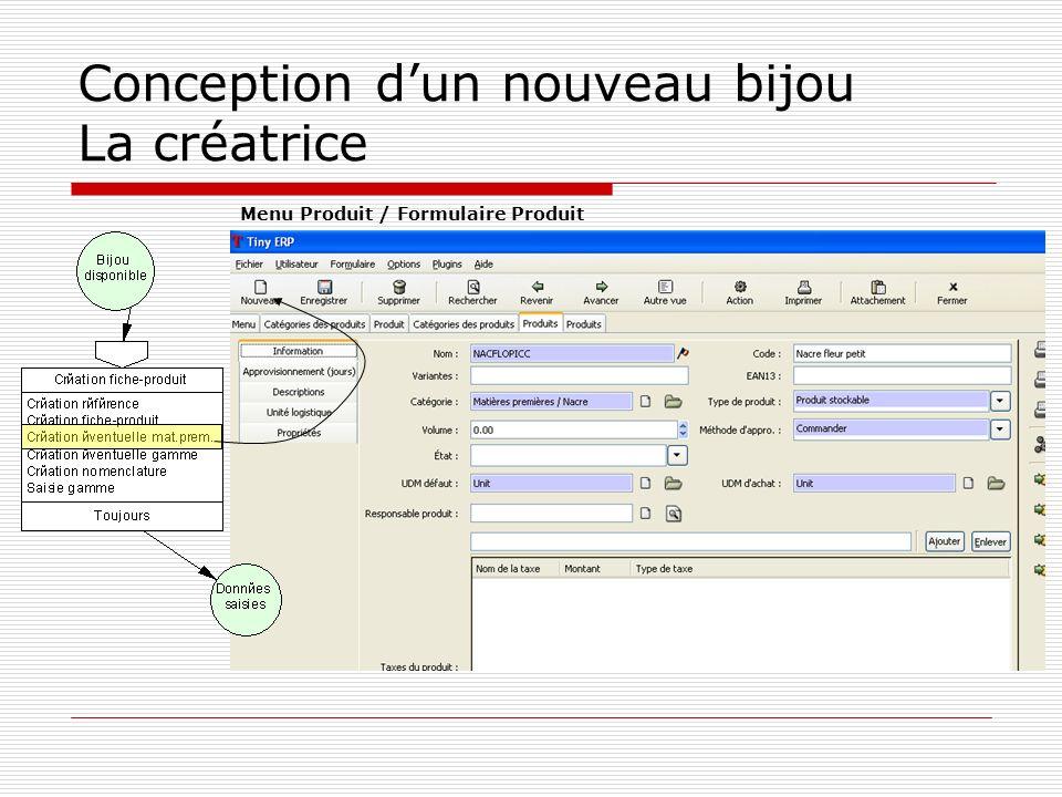 Conception dun nouveau bijou La créatrice Menu Produit / Formulaire Produit