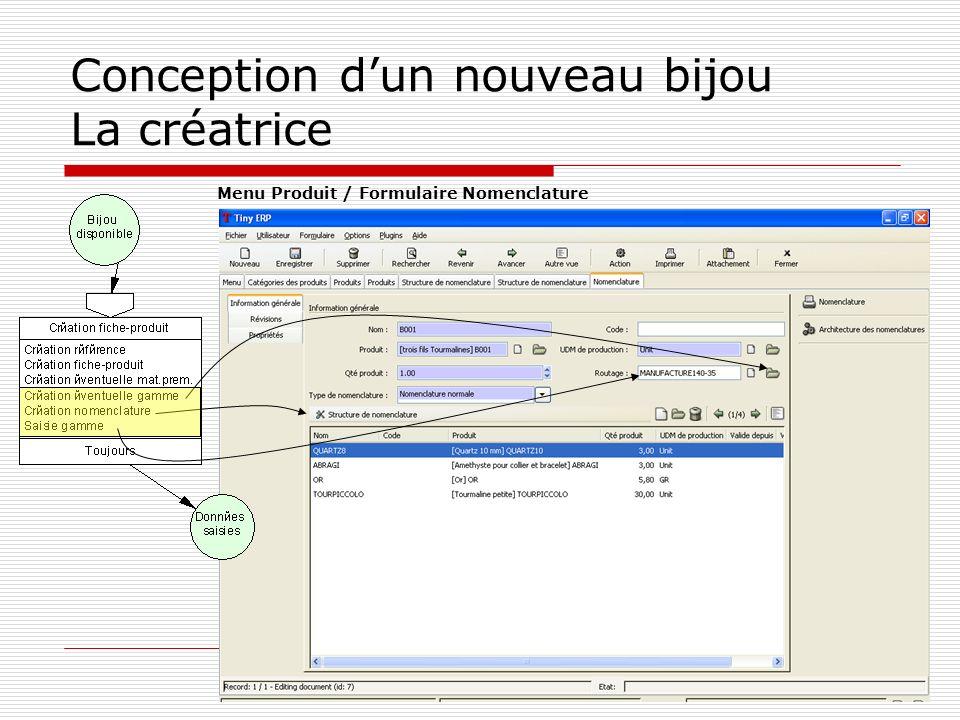 Conception dun nouveau bijou La créatrice Menu Produit / Formulaire Nomenclature
