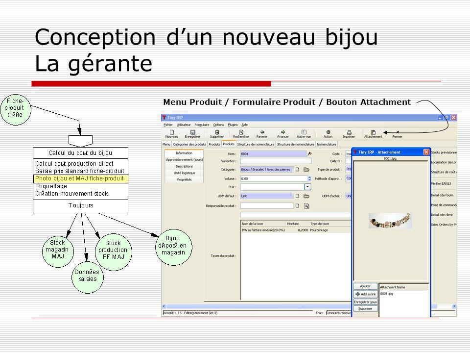 Conception dun nouveau bijou La gérante Menu Produit / Formulaire Produit / Bouton Attachment