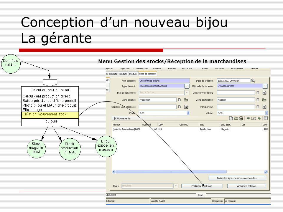 Conception dun nouveau bijou La gérante Menu Gestion des stocks/Réception de la marchandises