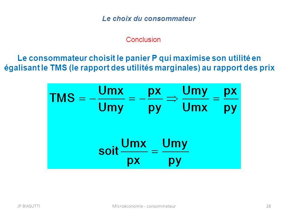 JP BIASUTTIMicroéconomie - consommateur28 Le choix du consommateur Conclusion Le consommateur choisit le panier P qui maximise son utilité en égalisan