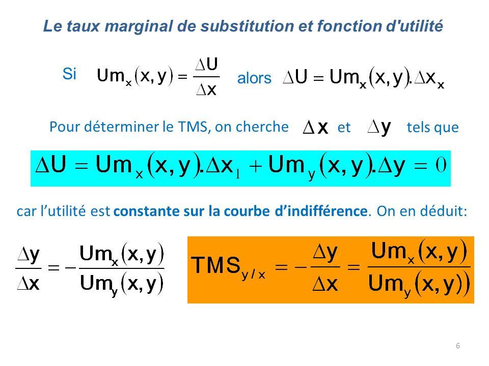 6 Le taux marginal de substitution et fonction d'utilité alors Pour déterminer le TMS, on cherche ettels que car lutilité est constante sur la courbe
