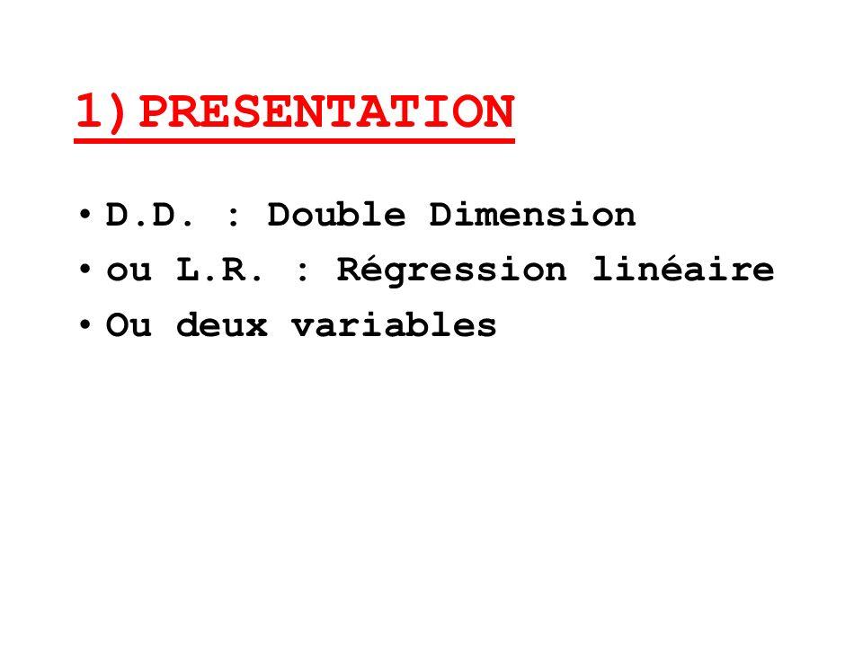 1)PRESENTATION D.D. : Double Dimension ou L.R. : Régression linéaire Ou deux variables
