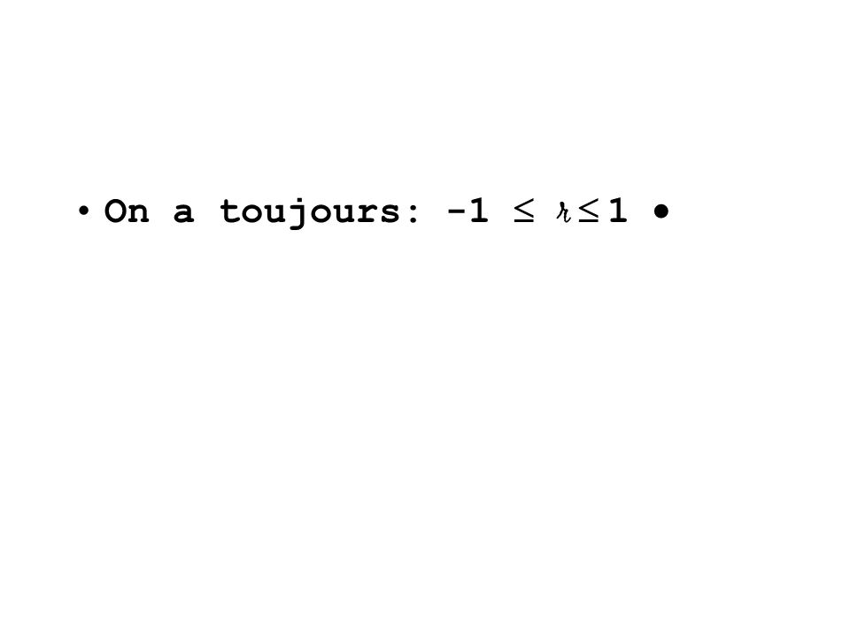 On a toujours: -1 r 1