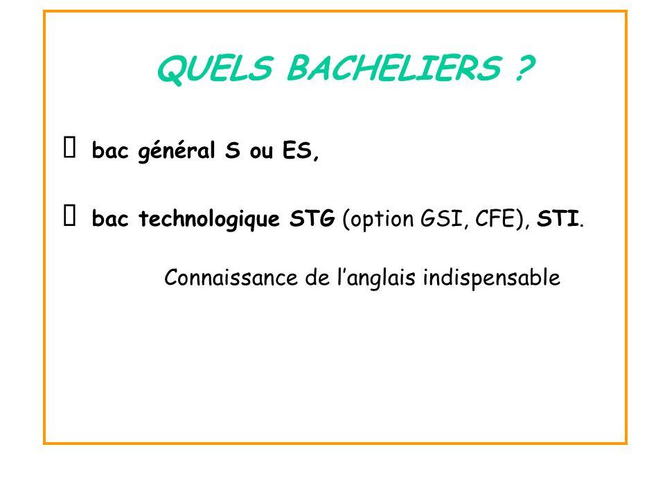 bac technologique STG (option GSI, CFE), STI. QUELS BACHELIERS ? bac général S ou ES, Connaissance de langlais indispensable