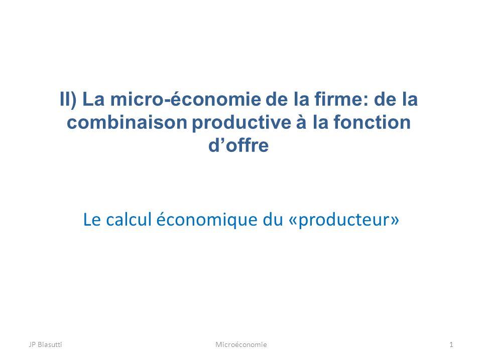 II) La micro-économie de la firme: de la combinaison productive à la fonction doffre Le calcul économique du «producteur» 1MicroéconomieJP Biasutti