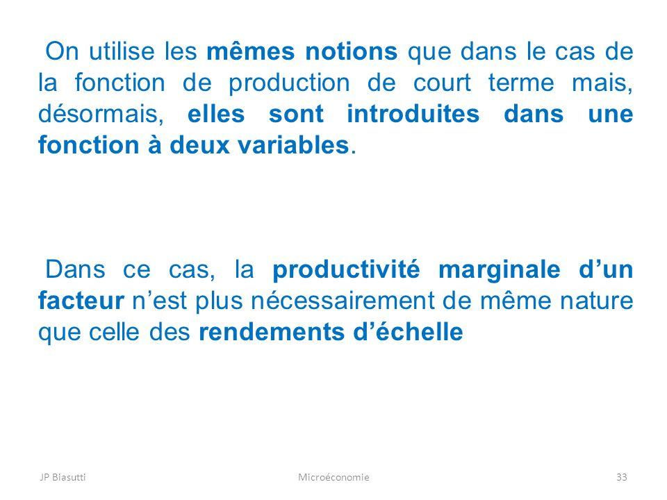 Microéconomie33 On utilise les mêmes notions que dans le cas de la fonction de production de court terme mais, désormais, elles sont introduites dans