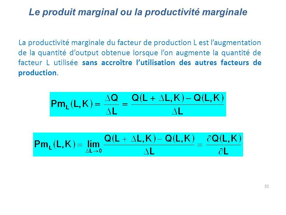 35 Le produit marginal ou la productivité marginale La productivité marginale du facteur de production L est laugmentation de la quantité doutput obte