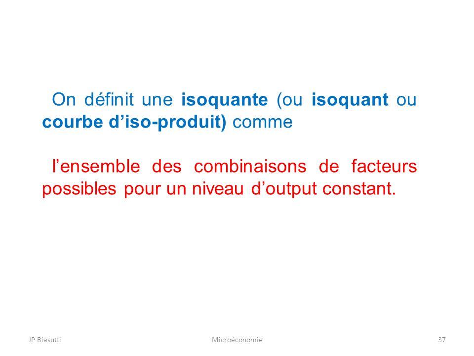 JP BiasuttiMicroéconomie37 On définit une isoquante (ou isoquant ou courbe diso-produit) comme lensemble des combinaisons de facteurs possibles pour u