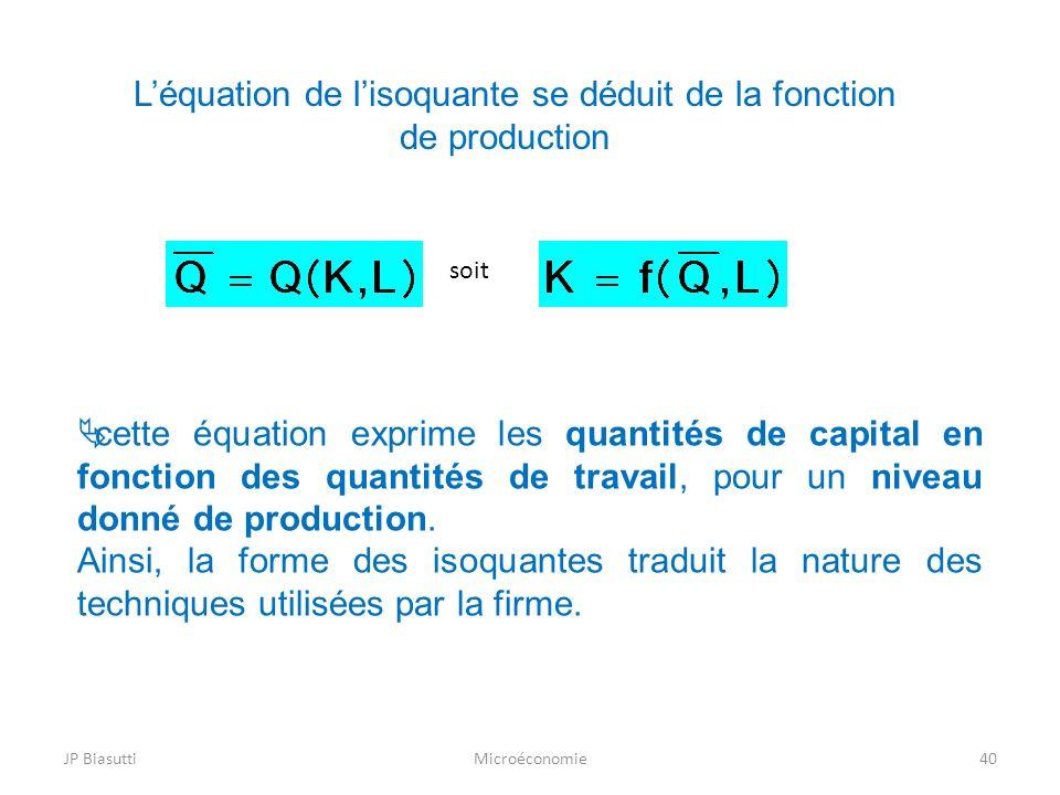 JP BiasuttiMicroéconomie40 Léquation de lisoquante se déduit de la fonction de production cette équation exprime les quantités de capital en fonction