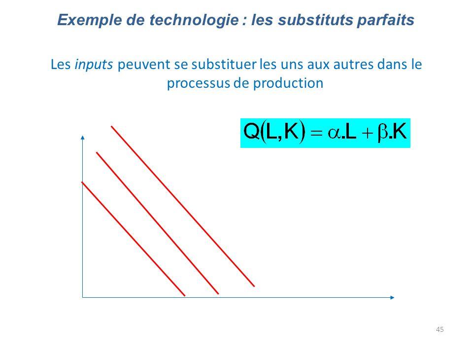 45 Exemple de technologie : les substituts parfaits Les inputs peuvent se substituer les uns aux autres dans le processus de production