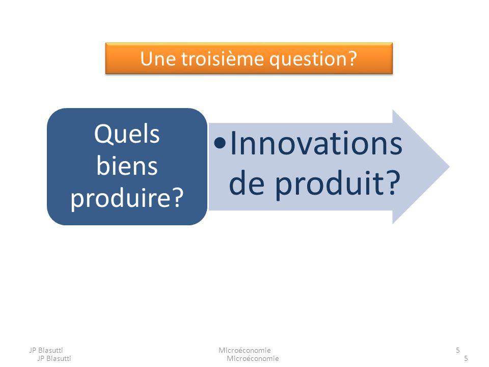 Microéconomie5 Une troisième question? Innovations de produit? Quels biens produire? 5MicroéconomieJP Biasutti