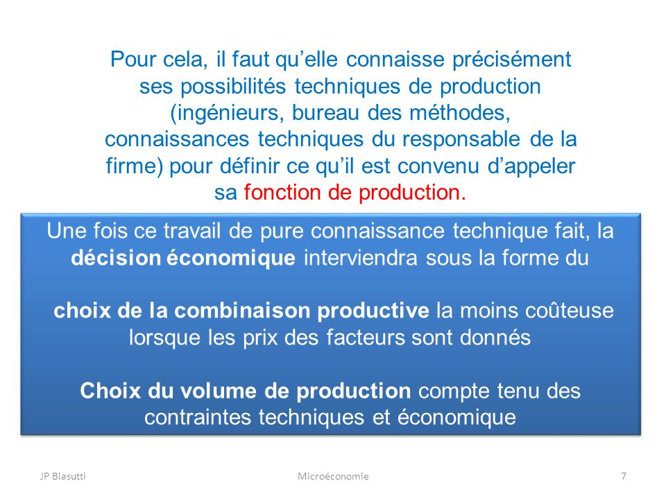 JP BiasuttiMicroéconomie7 Pour cela, il faut quelle connaisse précisément ses possibilités techniques de production (ingénieurs, bureau des méthodes,