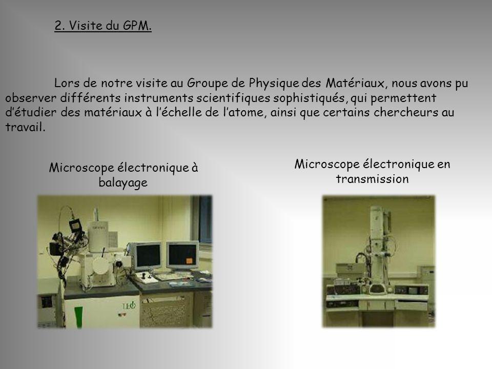 2. Visite du GPM. Microscope électronique à balayage Microscope électronique en transmission Lors de notre visite au Groupe de Physique des Matériaux,