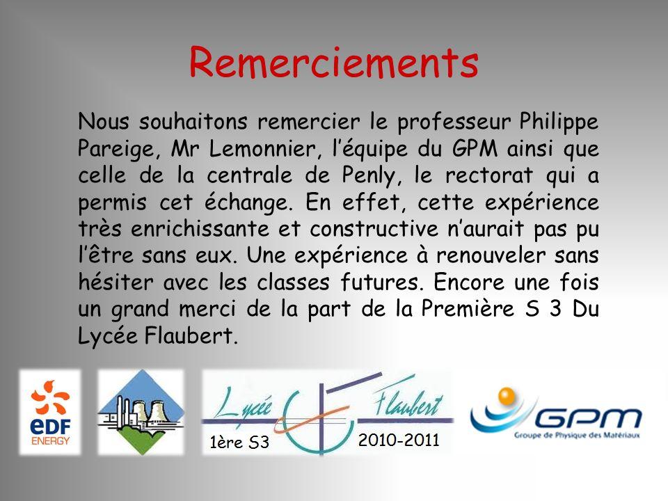 Remerciements Nous souhaitons remercier le professeur Philippe Pareige, Mr Lemonnier, léquipe du GPM ainsi que celle de la centrale de Penly, le recto