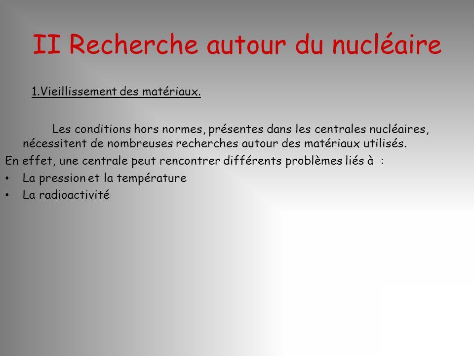 II Recherche autour du nucléaire 1.Vieillissement des matériaux. Les conditions hors normes, présentes dans les centrales nucléaires, nécessitent de n