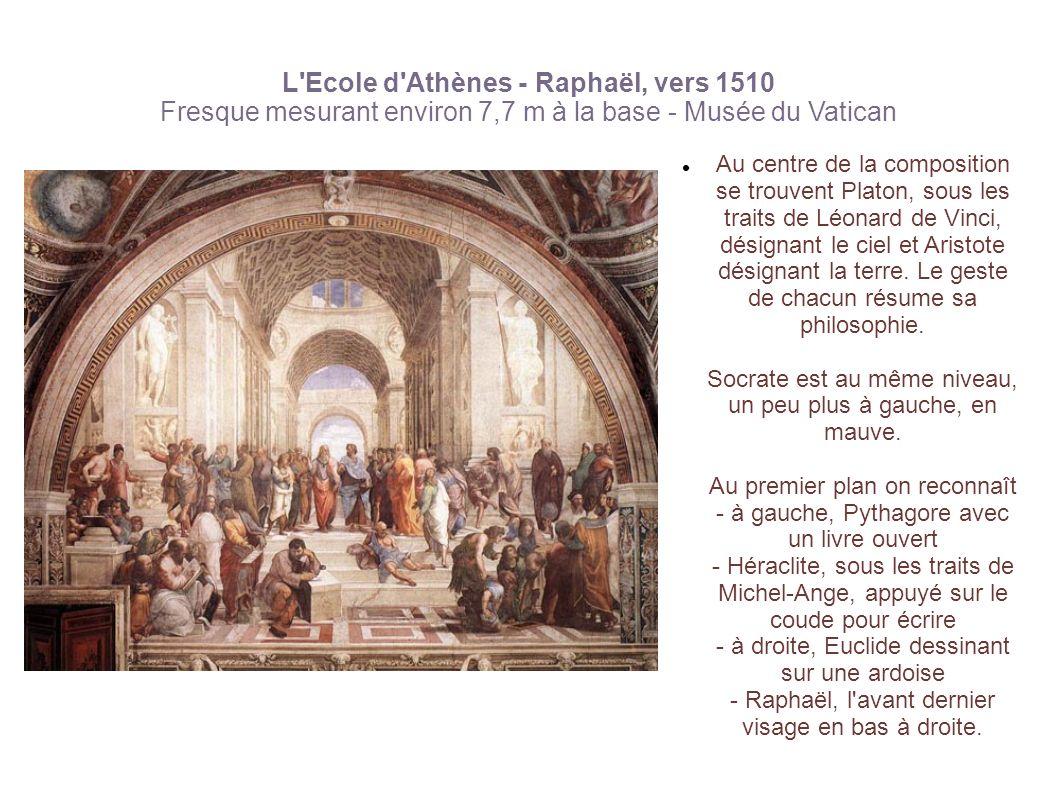 L'Ecole d'Athènes - Raphaël, vers 1510 Fresque mesurant environ 7,7 m à la base - Musée du Vatican Au centre de la composition se trouvent Platon, sou