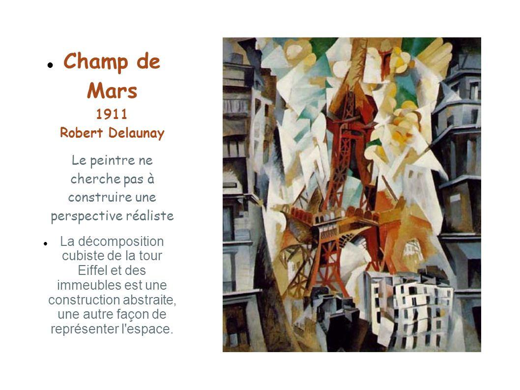 Champ de Mars 1911 Robert Delaunay Le peintre ne cherche pas à construire une perspective réaliste La décomposition cubiste de la tour Eiffel et des i