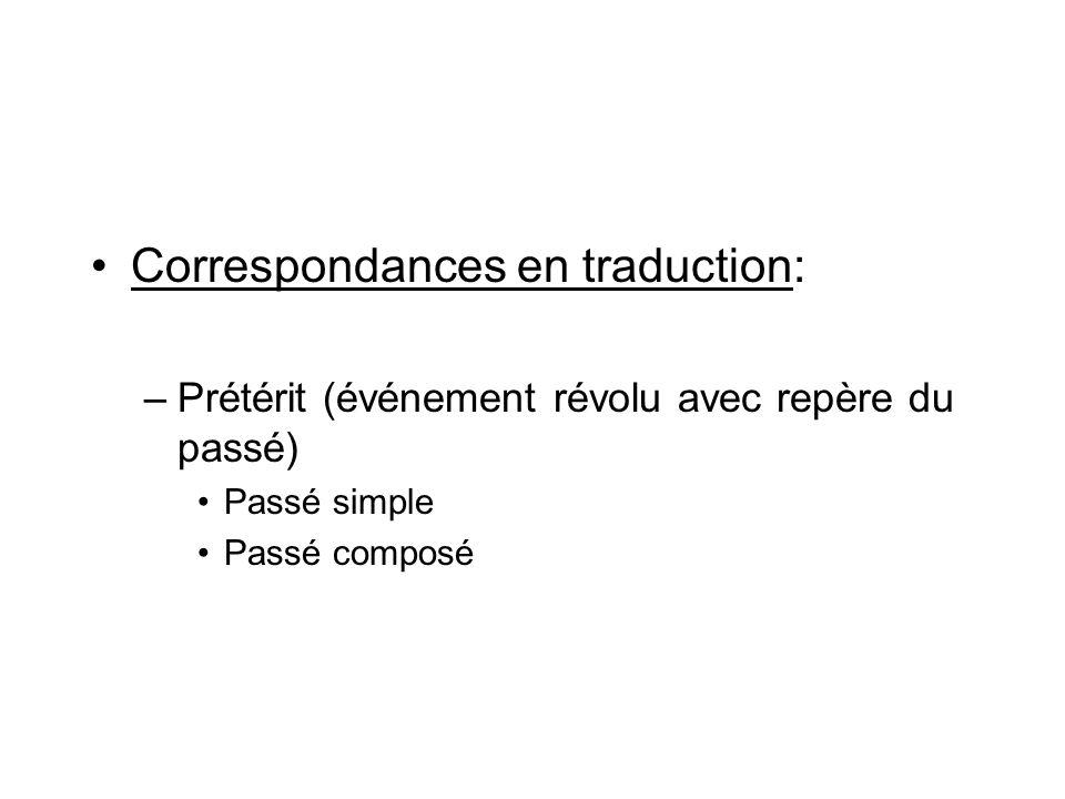 Correspondances en traduction: –Prétérit (événement révolu avec repère du passé) Passé simple Passé composé