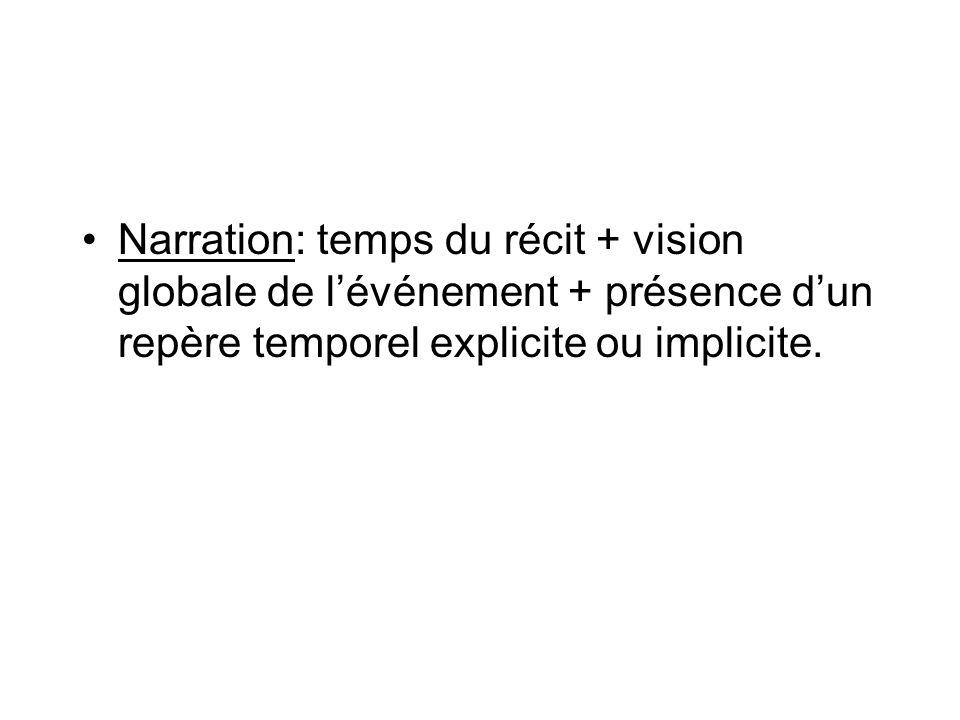 Narration: temps du récit + vision globale de lévénement + présence dun repère temporel explicite ou implicite.