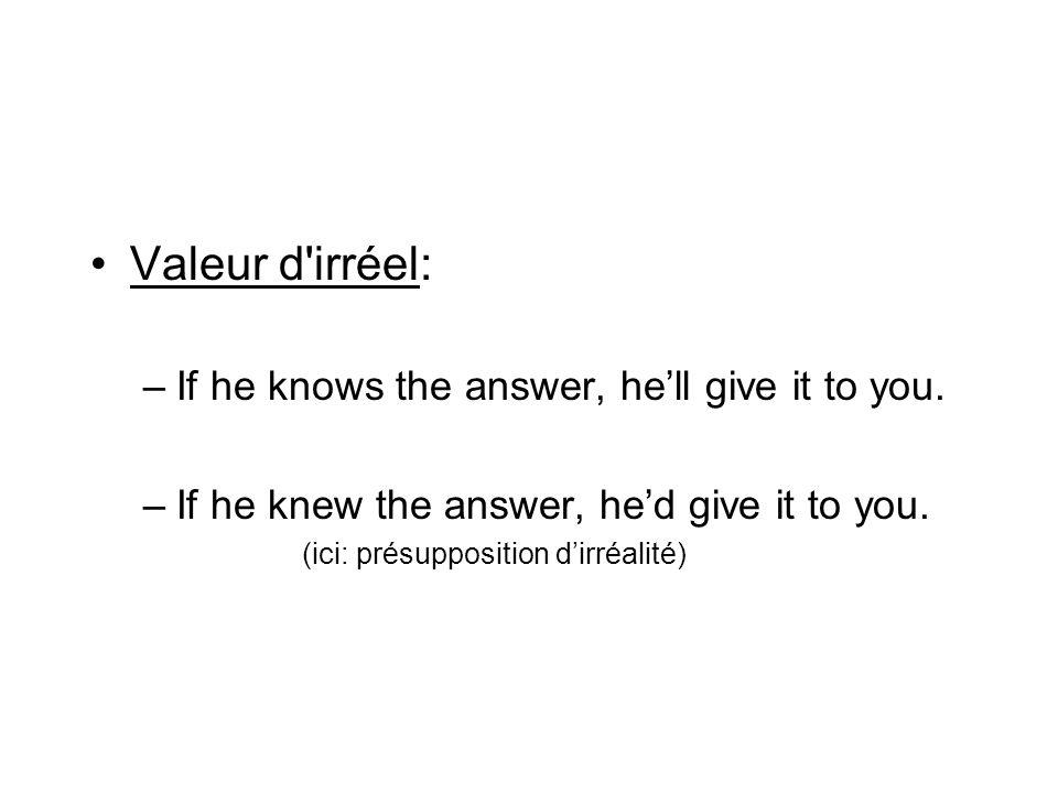 Valeur d'irréel: –If he knows the answer, hell give it to you. –If he knew the answer, hed give it to you. (ici: présupposition dirréalité)