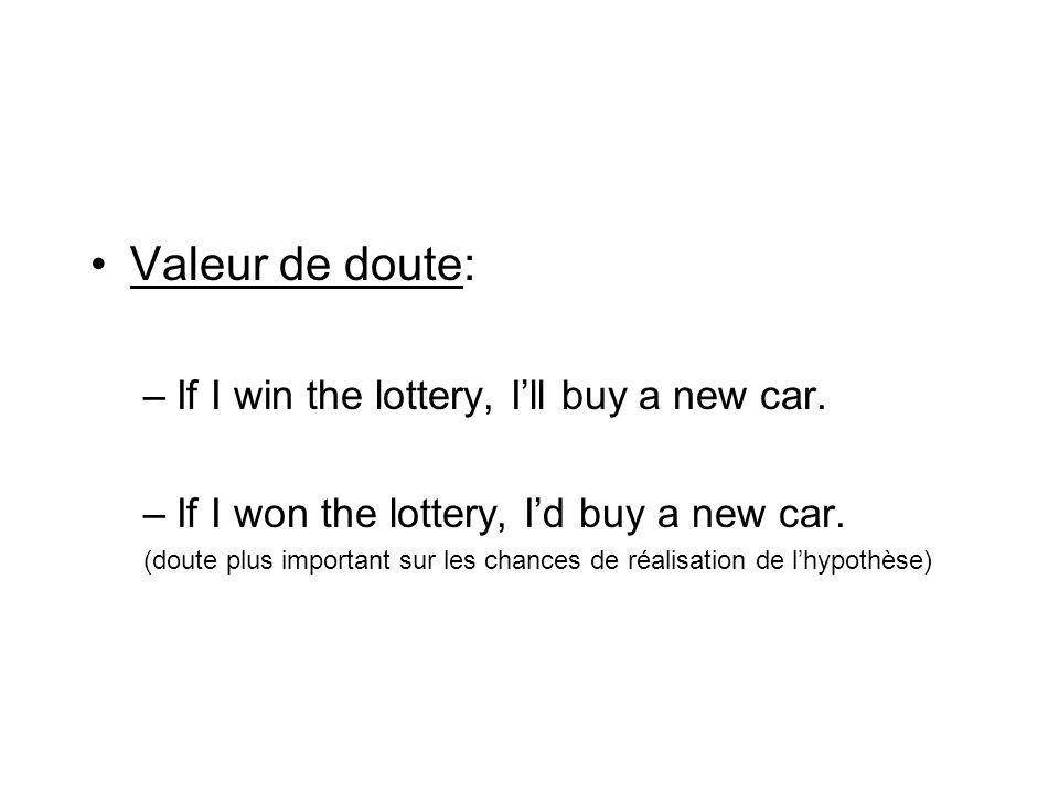 Valeur de doute: –If I win the lottery, Ill buy a new car. –If I won the lottery, Id buy a new car. (doute plus important sur les chances de réalisati
