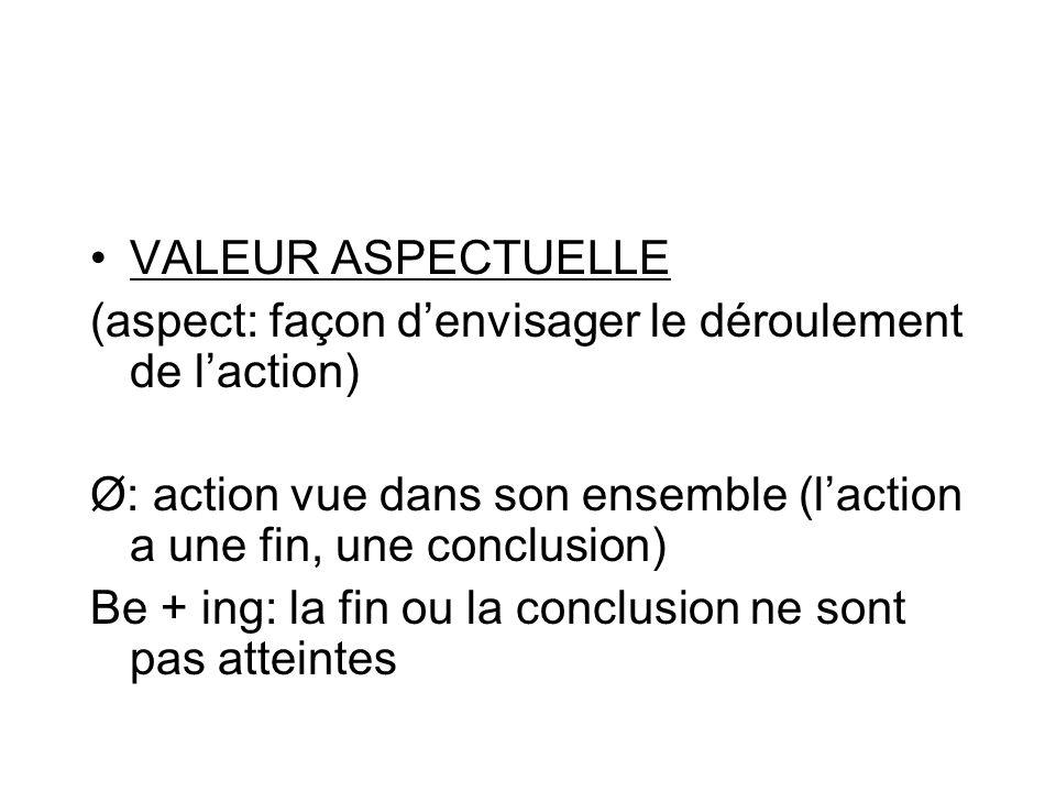 VALEUR ASPECTUELLE (aspect: façon denvisager le déroulement de laction) Ø: action vue dans son ensemble (laction a une fin, une conclusion) Be + ing: