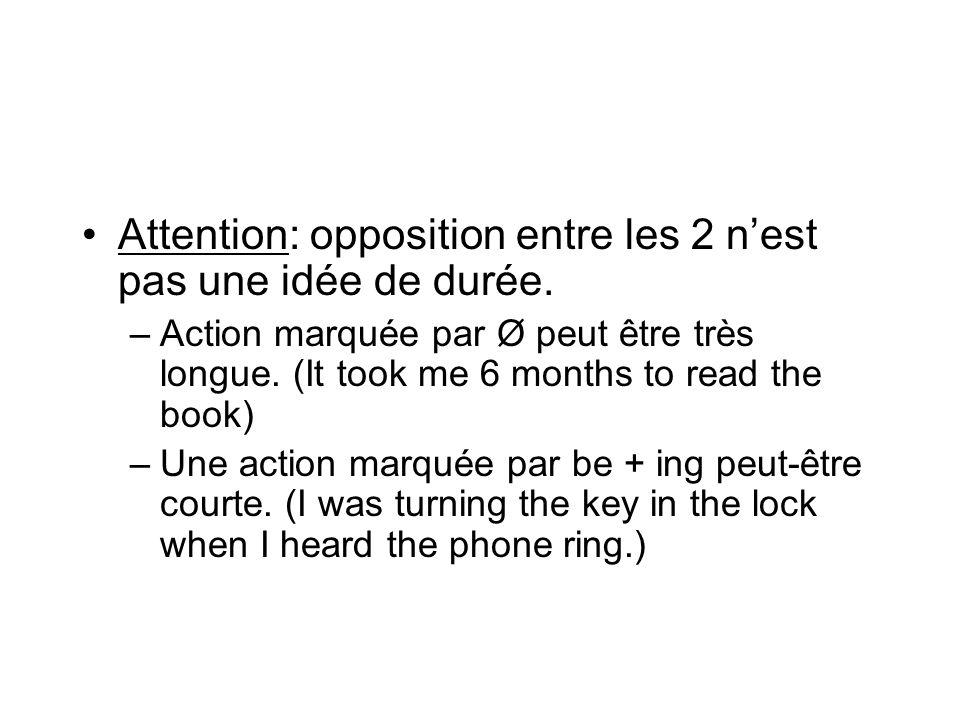 Attention: opposition entre les 2 nest pas une idée de durée. –Action marquée par Ø peut être très longue. (It took me 6 months to read the book) –Une