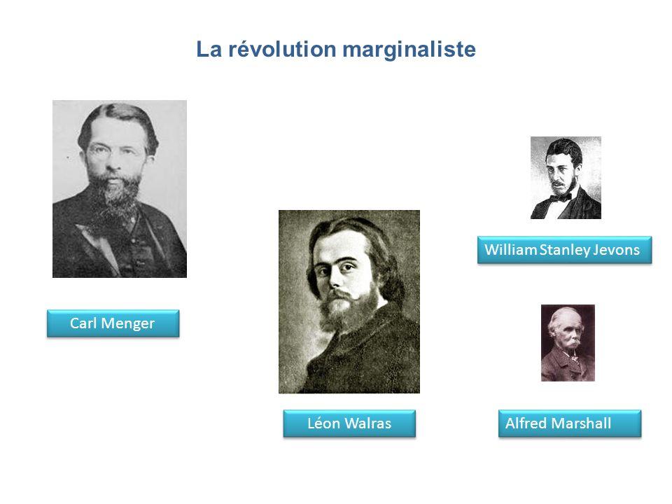 La révolution marginaliste Carl Menger Léon Walras William Stanley Jevons Alfred Marshall