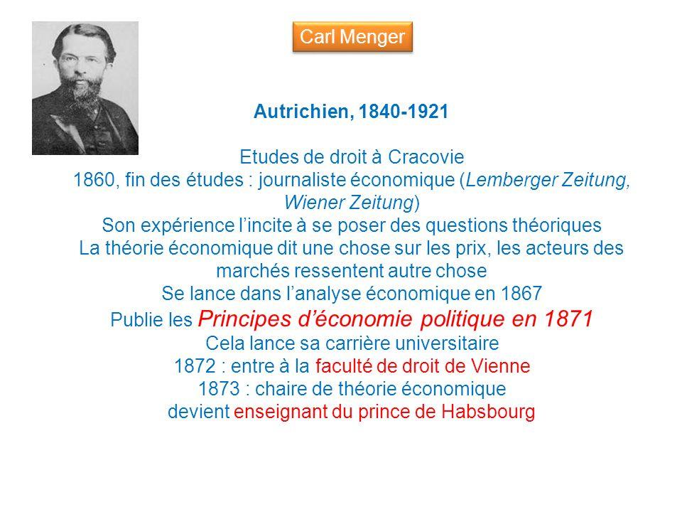 Autrichien, 1840-1921 Etudes de droit à Cracovie 1860, fin des études : journaliste économique (Lemberger Zeitung, Wiener Zeitung) Son expérience linc