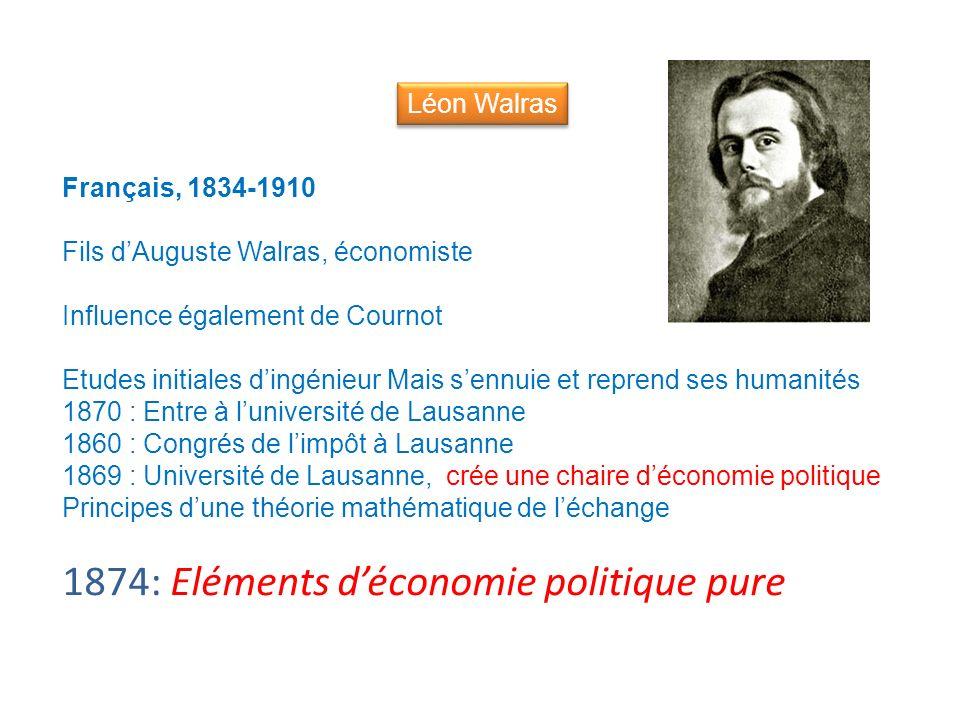 Français, 1834-1910 Fils dAuguste Walras, économiste Influence également de Cournot Etudes initiales dingénieur Mais sennuie et reprend ses humanités